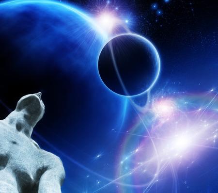 gazing: Figure gazes upward toward ringed planets