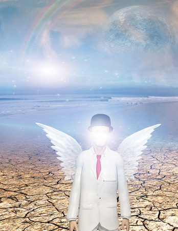 angelic: Winged figure with obscured face in surreal landscape Stock Photo