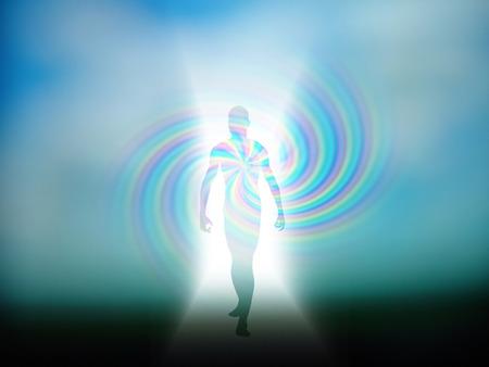 光から現れる人間の姿