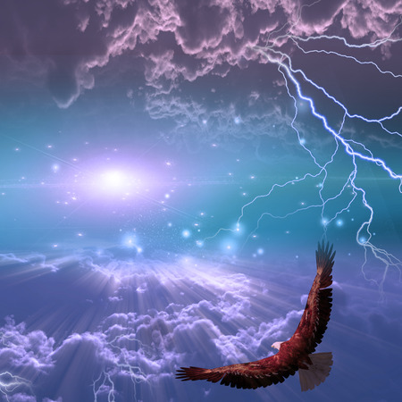 awe: Eagle in flight beneath storm Stock Photo