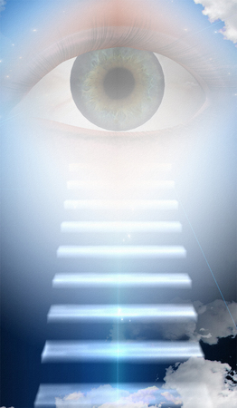 divinity: Steps to large eye Stock Photo