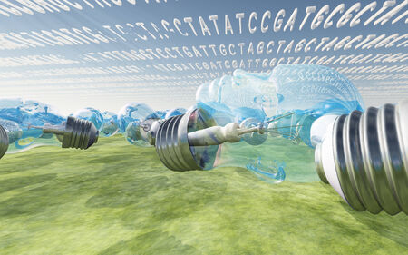human evolution: Genetic code clouds and human shaped light bulbs