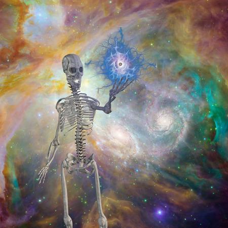 pagan: Skeleton holds floating eye in deep space