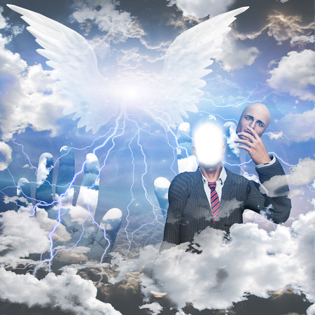 supernatural power:  Obscured winged being and man reveals himself as a being of light