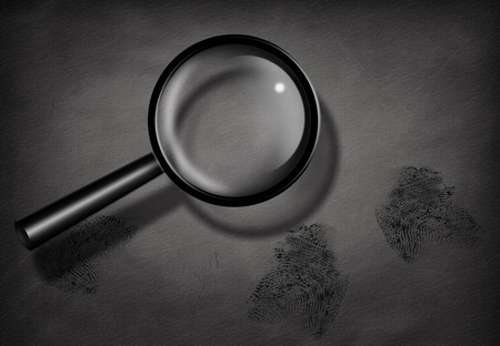 detectives: Fingerprints and Magnifying Glass Stock Photo