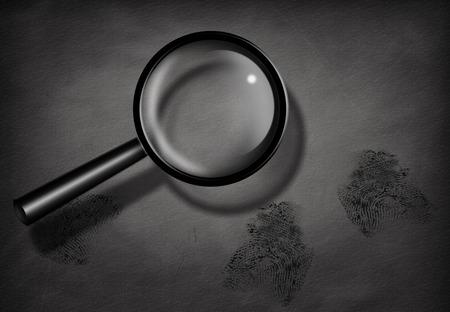 policier: Les empreintes digitales et loupe Banque d'images