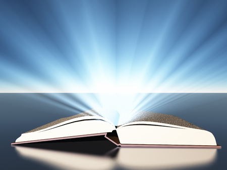 light source: Book with light Stock Photo