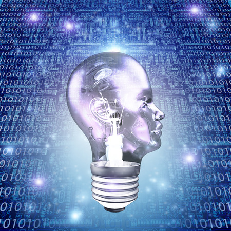 eureka: Head Light Bulb with Binary