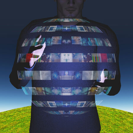 display: Man intereacts with video sphere display