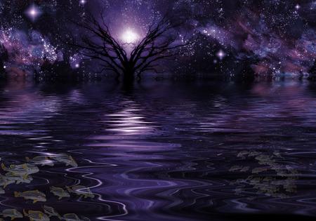 Deep Purple Fantasy Landscape 版權商用圖片 - 28172645