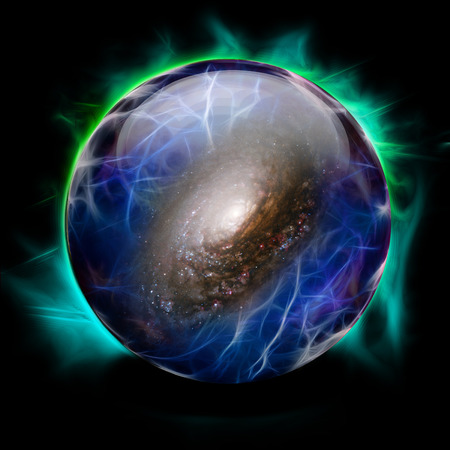 Crystal Ball Shows Galaxy Stock Photo - 28172649