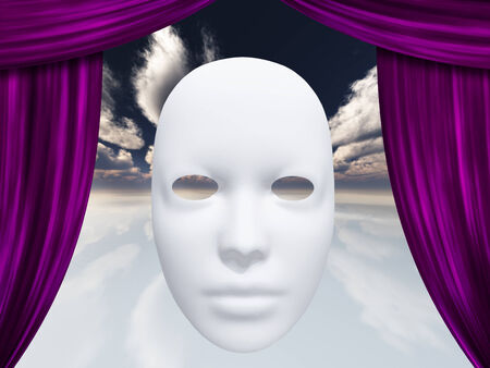 comedic: human face mask and curtains Stock Photo