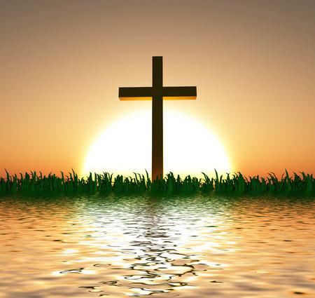Zonsondergang of zonsopkomst met kruis en water Stockfoto