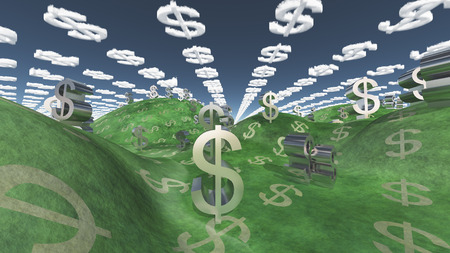 wealth concept: Landscape with Currency Elements