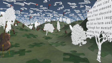 Paper trees with text and Cellos sit in hilly landscape with Musical Notes for Clouds Imagens - 28560072