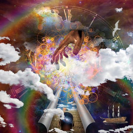 spiritual meditation creation: Ship sails the seas of imagination