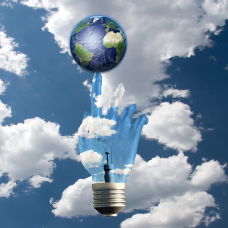 Light Bulb Hand and Earth photo
