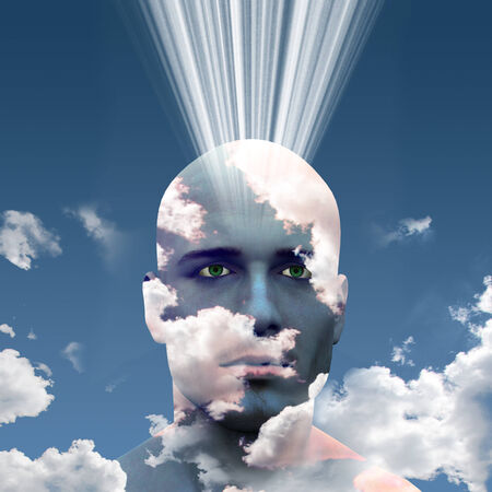 blue sky thinking: Mans head in clouds