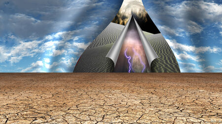 enlightenment: Desert sky peels open to reveal other lands Stock Photo