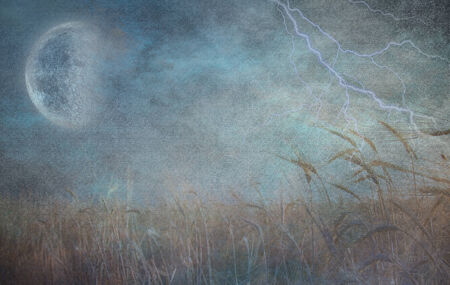 Heavily Textured Lightning Strike and Field of Grain Stock Photo