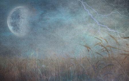 moonrise: Heavily Textured Lightning Strike and Field of Grain Stock Photo
