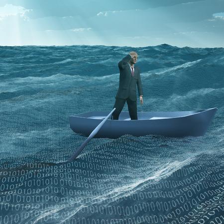 진 바다에서 작은 baot 남자 표류