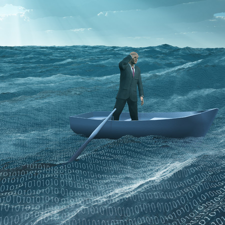 Man Adrift in tiny baot in binary ocean