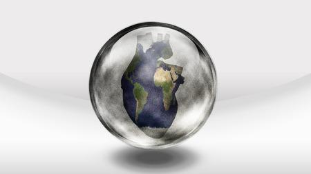 greenpeace: Human heart earth in glass sphere