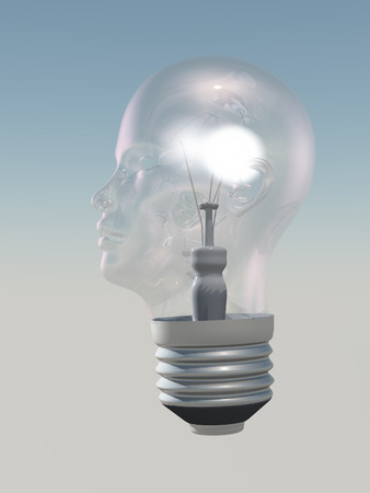 Light bulb in form of human head photo