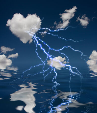reflection in water: Heart Shaped Cloud With Thunderbolt and Reflection on Water