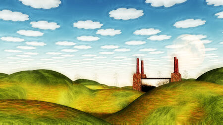 Bucolic Landscape with Factory Imagens - 28560442
