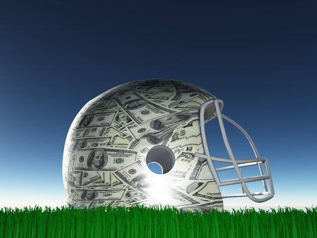 US Currency Helmet on Grass photo