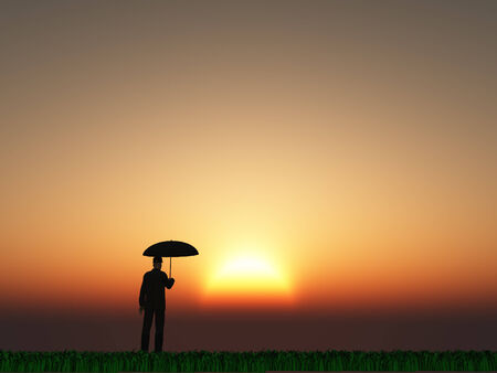 Man with umbrella and sun photo
