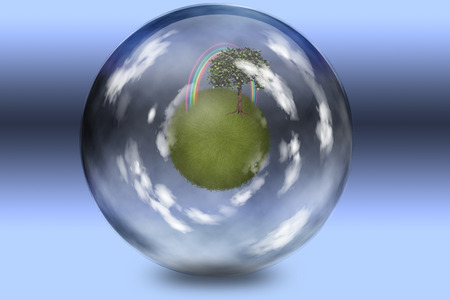 enclosed: Grassy spehe with tree and rainbow enclosed in glass sphere