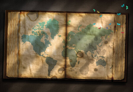 tattered: Old Tome with World Map and tiny moths Stock Photo