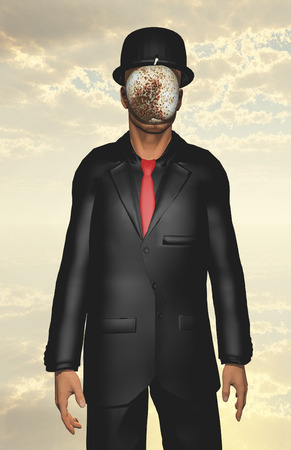 corroded: Man in black suit with corroded white apple