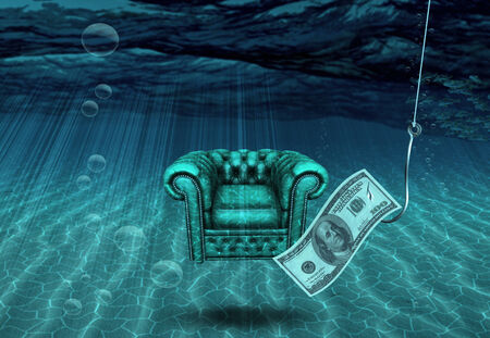 Comfortable Chair and !00 Hundred Dollar Bill on Fishing Hook Banque d'images