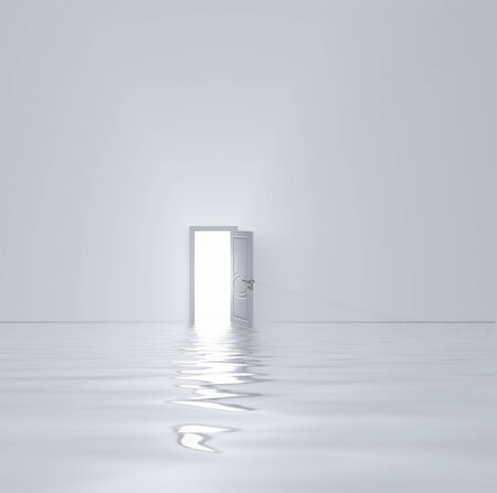Doorway in flooded white room Imagens