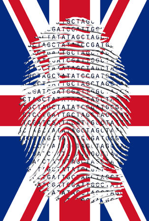 Genetic Letters in fingerprint over UK Flag photo