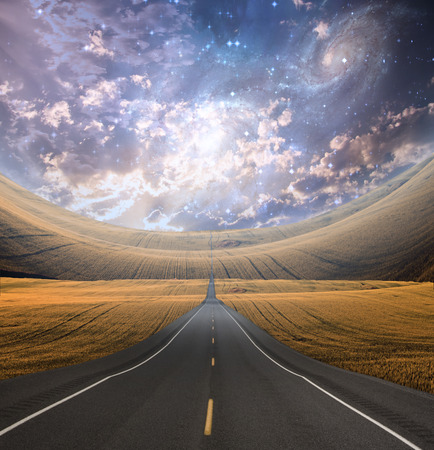 Roadway and countryside 스톡 콘텐츠