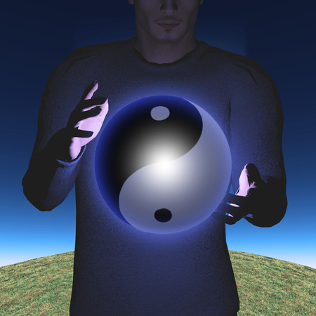 Man with Yin Yang Sphere Stock Photo