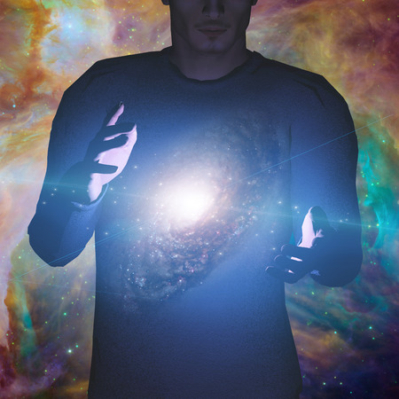 cosmology: Man holds galaxy between his hands