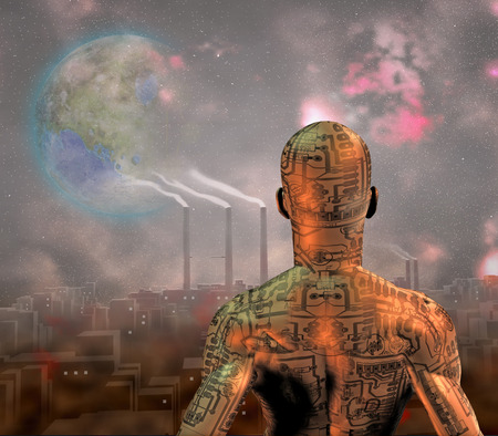 dystopia: Android before smog filled city with tearraformed moon in sky
