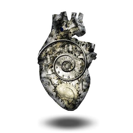 Engrenages cardiaques humaines et spirial de temps
