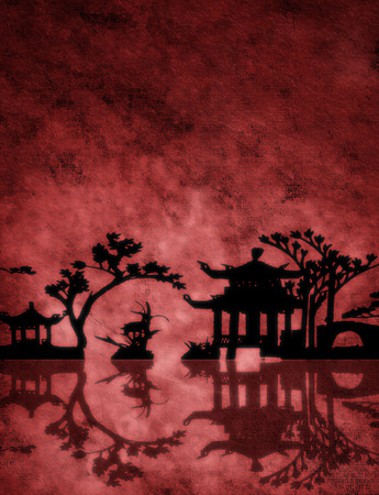 Red textured Asia landscape photo