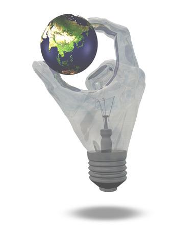 Light Bulb hand holds earth showing Asia, China, India, Australia, Indonesia photo