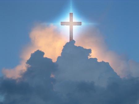 jesus clouds: Cross in Sky Stock Photo