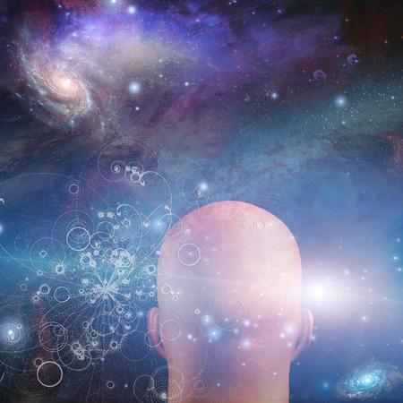 gazing: Figure looks into space Stock Photo