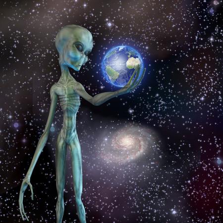 Alien being ponders earth photo