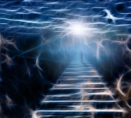 Figura sul percorso nello spazio sereno